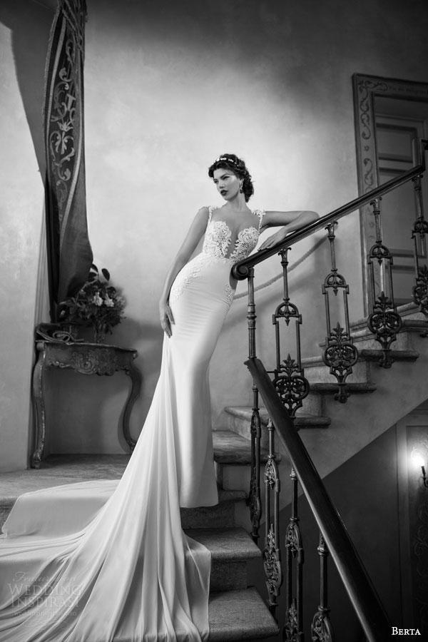 berta bridal 2015 elegant sheath wedding dress deep v neckline exquisite bodice