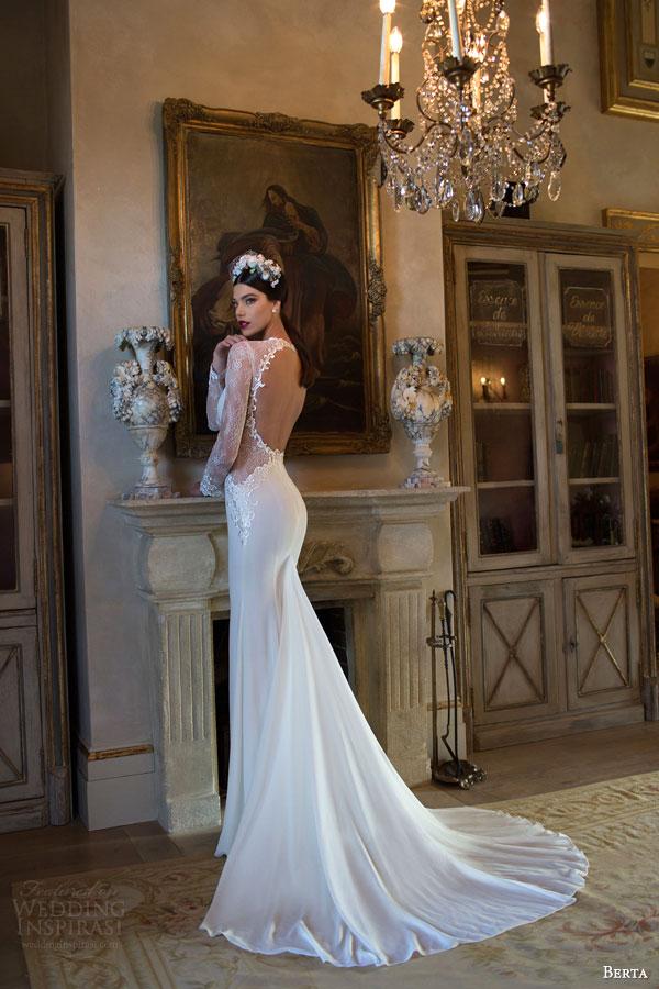 berta bridal 2015 gorgeous wedding dress with illusion long sleeves sheer waist detail deep v neckline keyhole back