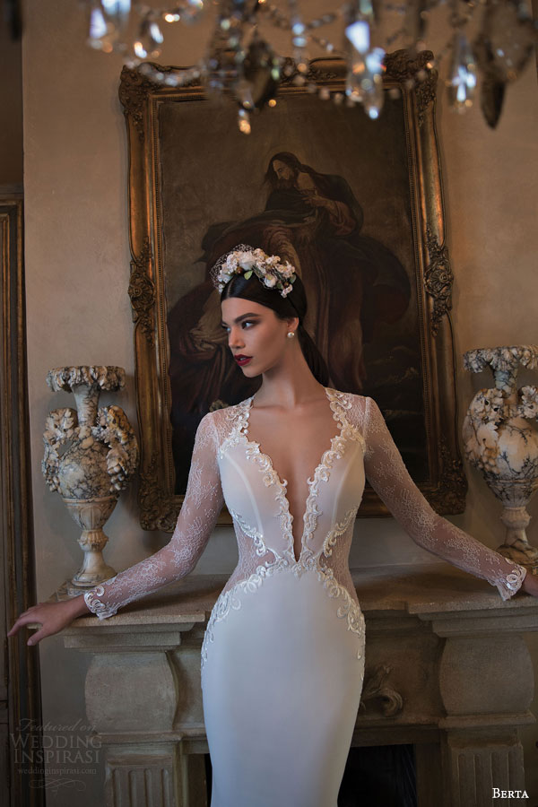 berta bridal 2015 gorgeous wedding dress with illusion long sleeves sheer waist detail deep v neckline