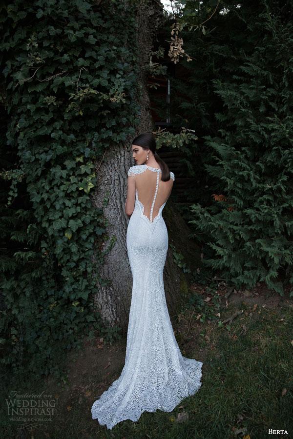 berta bridal 2015 high neck beaded cap sleeve sheath wedding dress back view