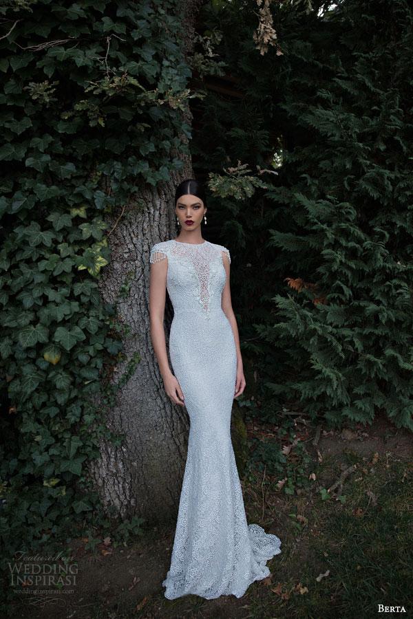 berta bridal 2015 high neck beaded cap sleeve sheath wedding dress