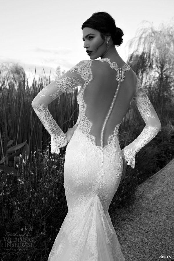 berta bridal 2015 illusion bodice long sleeve sexy wedding dress lace train back view close up