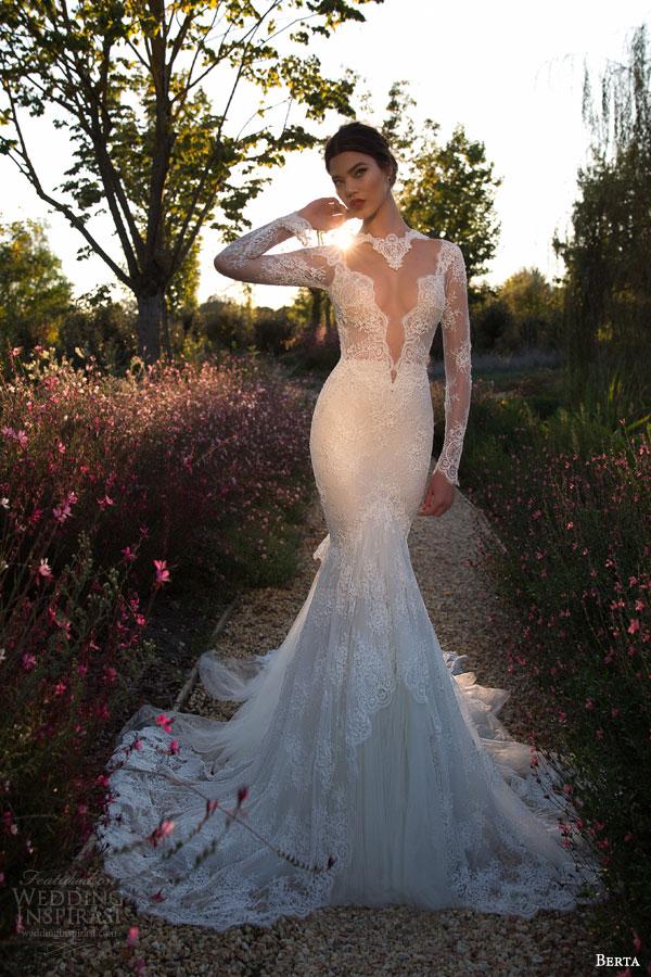 berta bridal 2015 illusion bodice long sleeve sexy wedding dress lace train full view