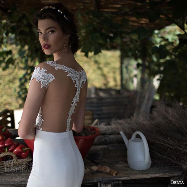 berta bridal 2015 illusion cap sleeve wedding dress lace bodice close up back