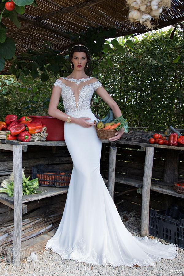 berta bridal 2015 illusion cap sleeve wedding dress lace bodice