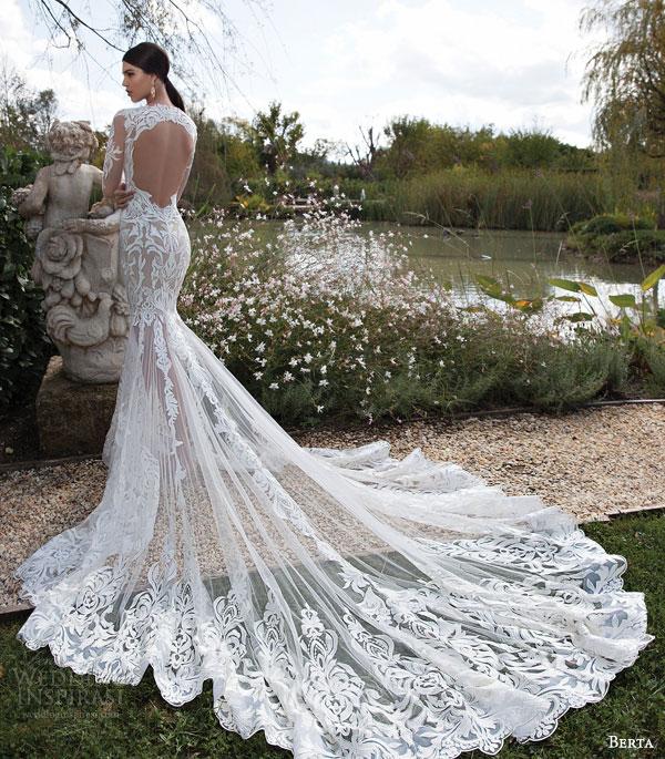 berta bridal 2015 illusion long sleeve wedding dress amazing lace train back view