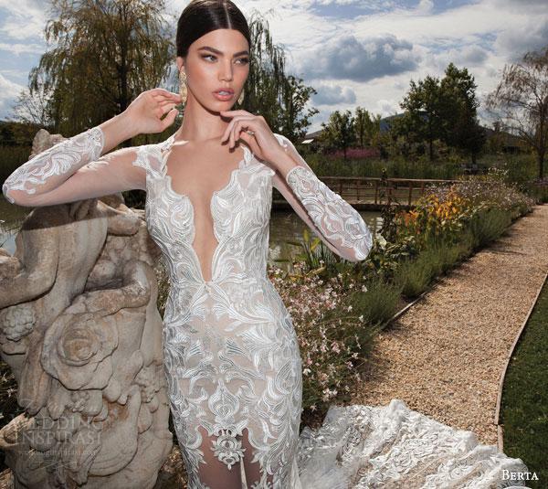 berta bridal 2015 illusion long sleeve wedding dress amazing lace train close up