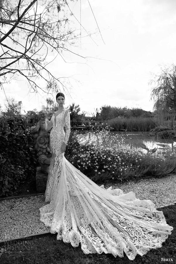 berta bridal 2015 illusion long sleeve wedding dress amazing lace train