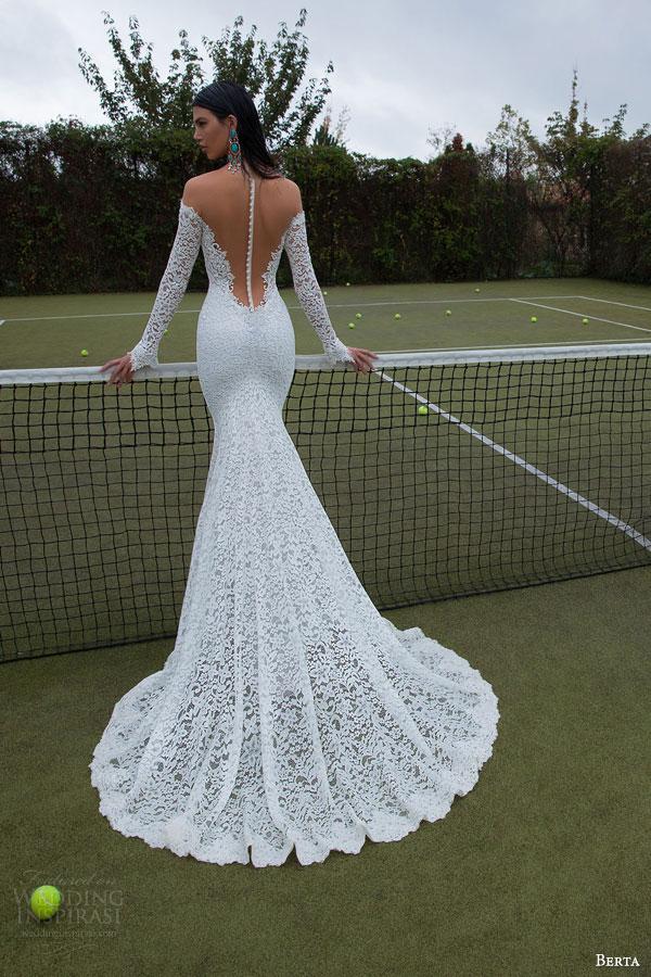 berta bridal 2015 illusion off shoulder bodice lace long sleeve deep v neck sheath wedding dress back view