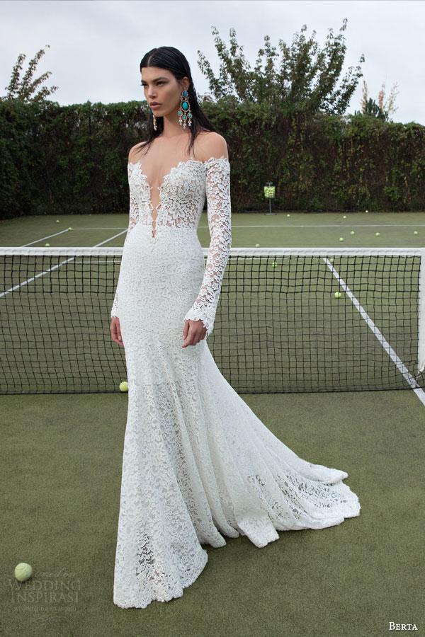 berta bridal 2015 illusion off shoulder bodice lace long sleeve deep v neck sheath wedding dress