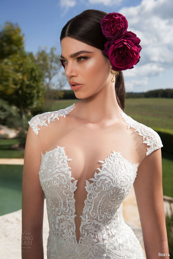 berta bridal 2015 lace cap sleeve wedding dress illusion bodice close up