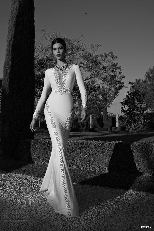 berta bridal 2015 long sleeve sheath wedding dress deep v neckline