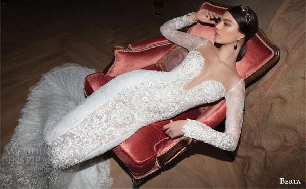 berta bridal 2015 sexy illusion long sleeve wedding dress