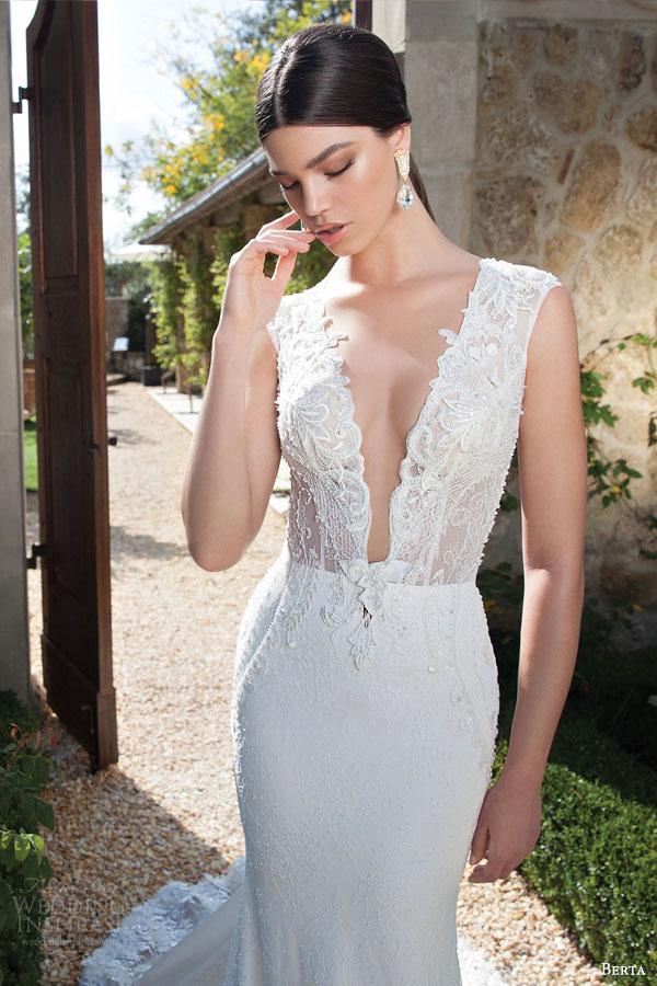 berta bridal 2015 sheath wedding dress deep v neckline