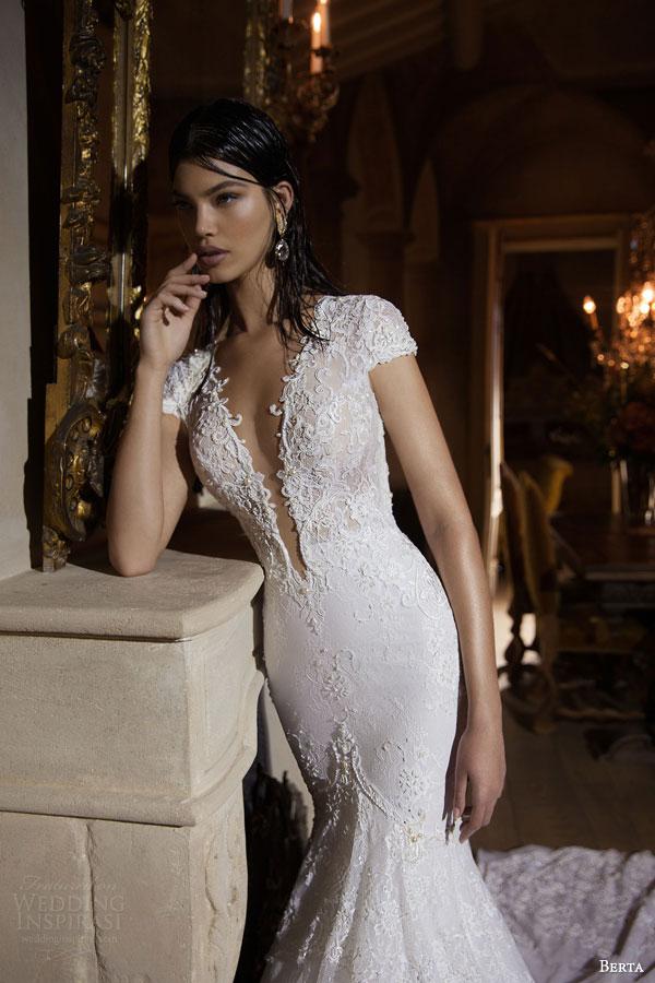 berta bridal 2015 short sleeve wedding dress sheath silhouette deep v neckline lace bodice close up