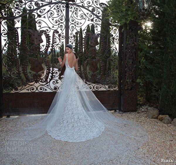 berta bridal 2015 sleeveless sheath wedding dress lace straps back view