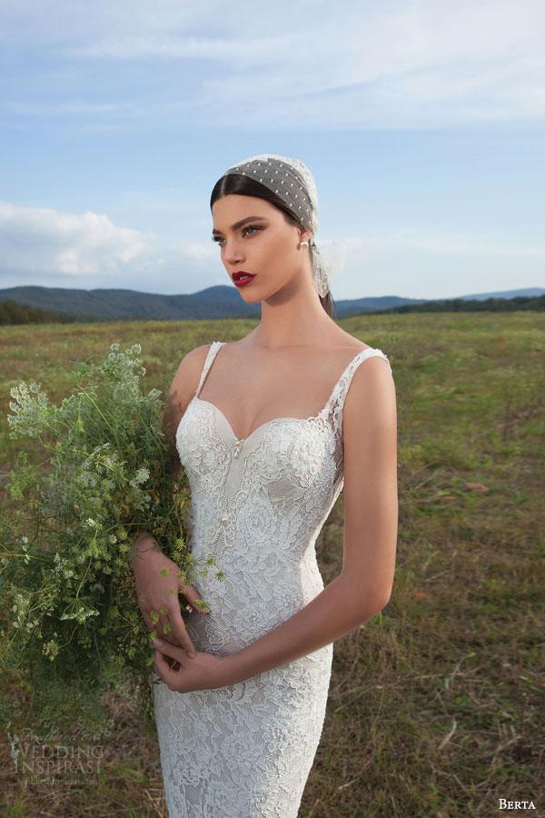 berta bridal 2015 sleeveless sheath wedding dress lace straps close up view