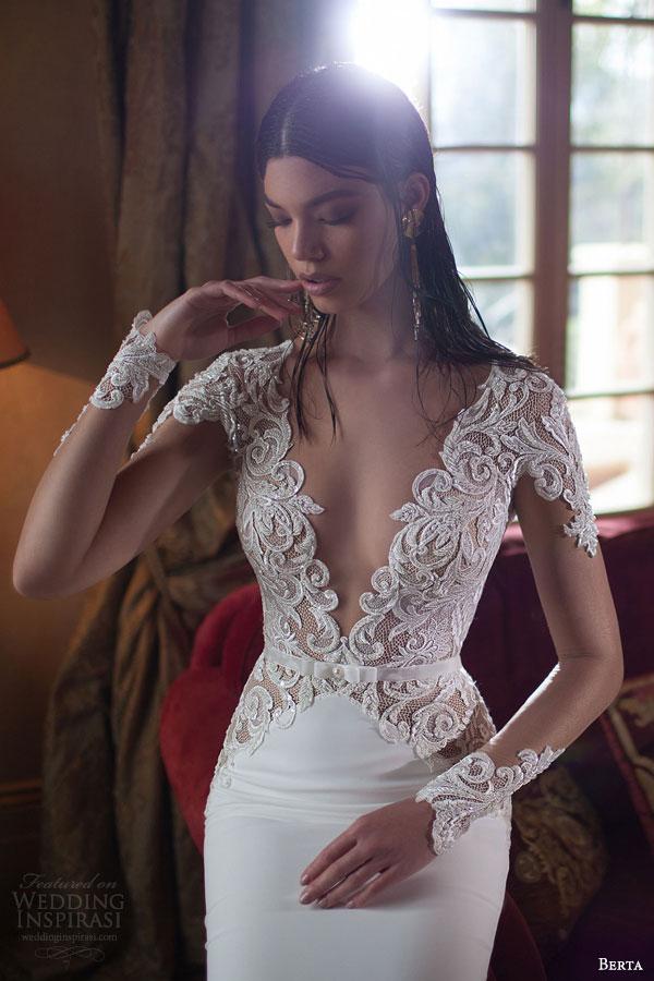 berta bridal 2015 v neck illusion long sleeve sheath wedding dress bodice close up