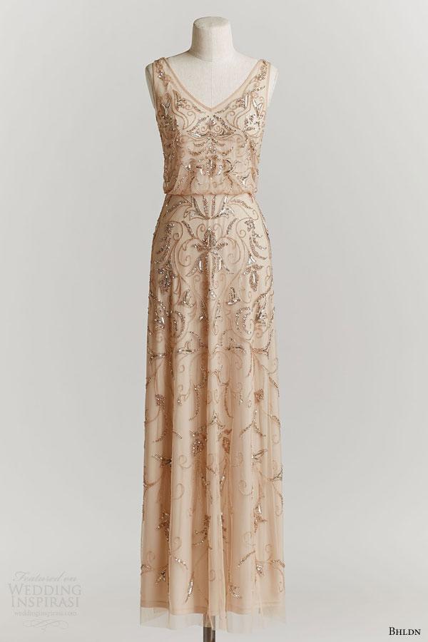 bhldn spring 2015 ascott sleeveless wedding dress beaded blouson bodice v neckline