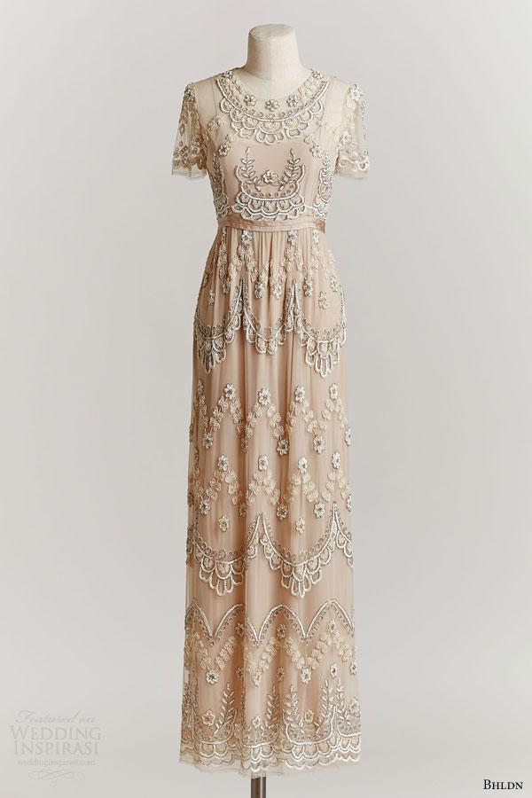 bhldn spring 2015 short sleeve tiered petal maxi beaded wedding dress