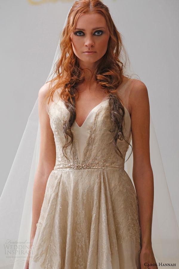 carol hannah bridal spring 2015 alchemist pyrite gold foiled silk organza a line wedding dress metallic lace illusion straps beaded waistline