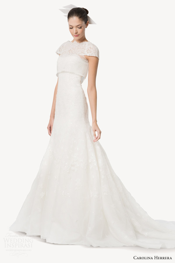 Carolina Herrera Bridal Fall 2017 Desiree Strapless Wedding Dress With Cropped Lace Topper