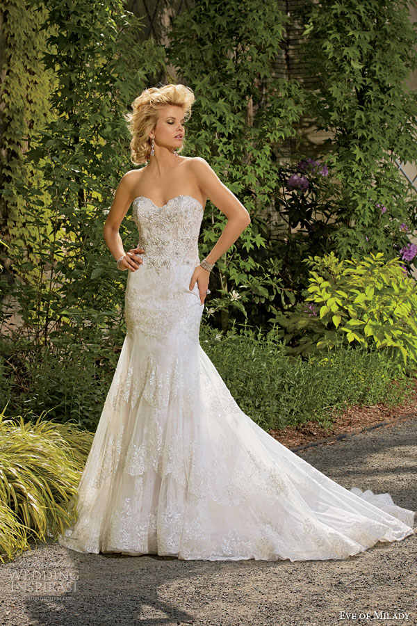 Lace Wedding Dress Strapless 19 Spectacular eve of milady couture