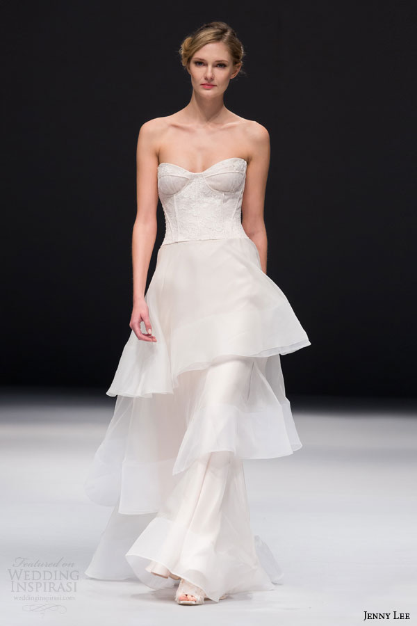 jenny lee bridal fall 2015 style 1515 wedding dress with strapless lace corset bodide tiered skirt
