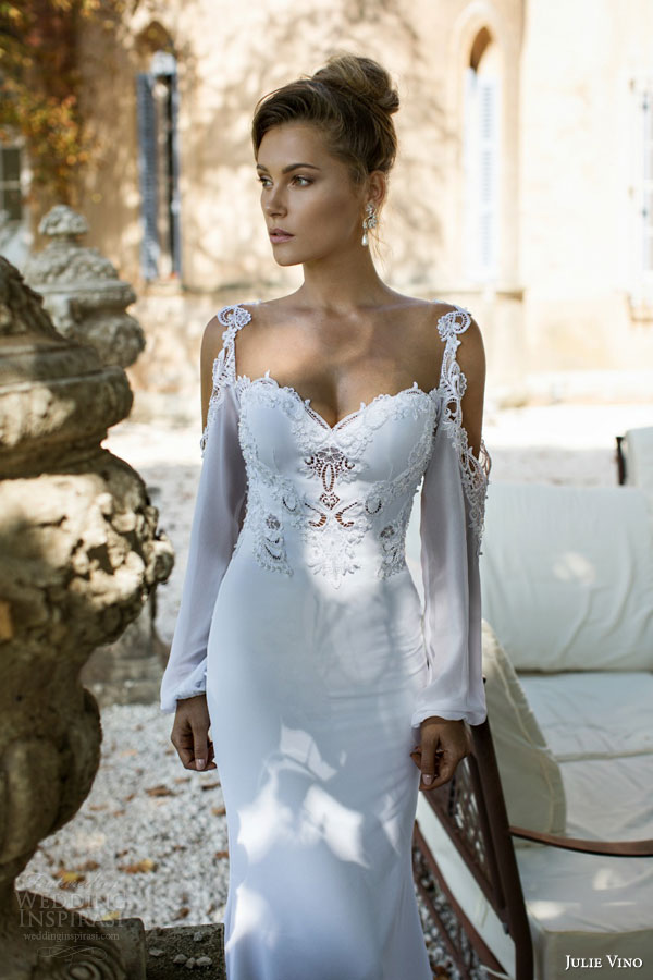 julie vino 2015 fall bridal provence nicole long bishop sleeves wedding dress front close up view