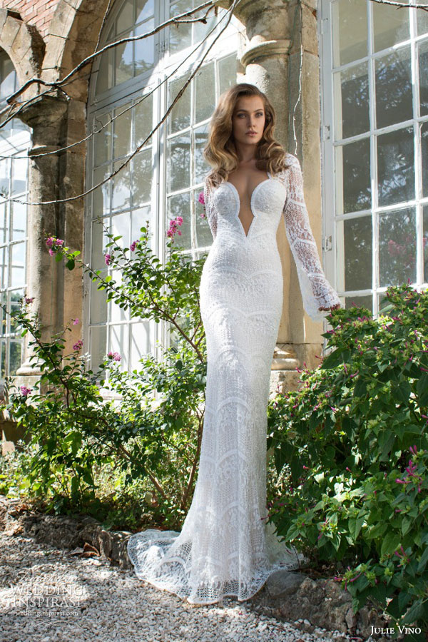 julie vino 2015 provence bridal sophie long sleeve sheath lace wedding dress