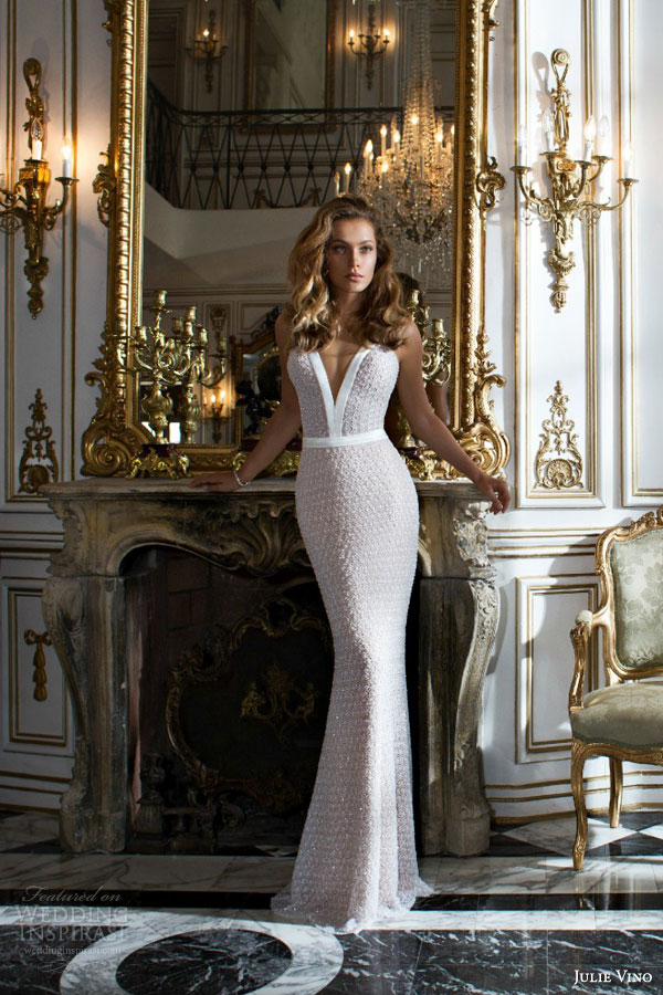 julie vino bridal 2015 provence victoria sleeveless sexy sheath wedding dress straps deep v neck