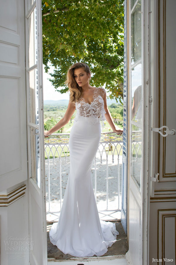 julie vino bridal 2015 provence yara wedding dress illusion cap sleeves top
