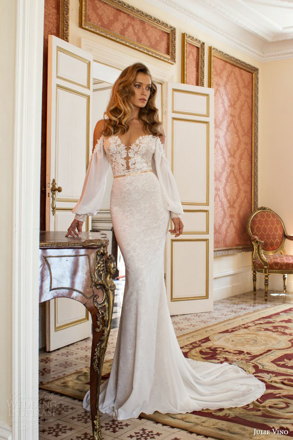 julie vino bridal fall 2015 provence cecile off shoulder long sleeve bishop style sheath wedding dress front view