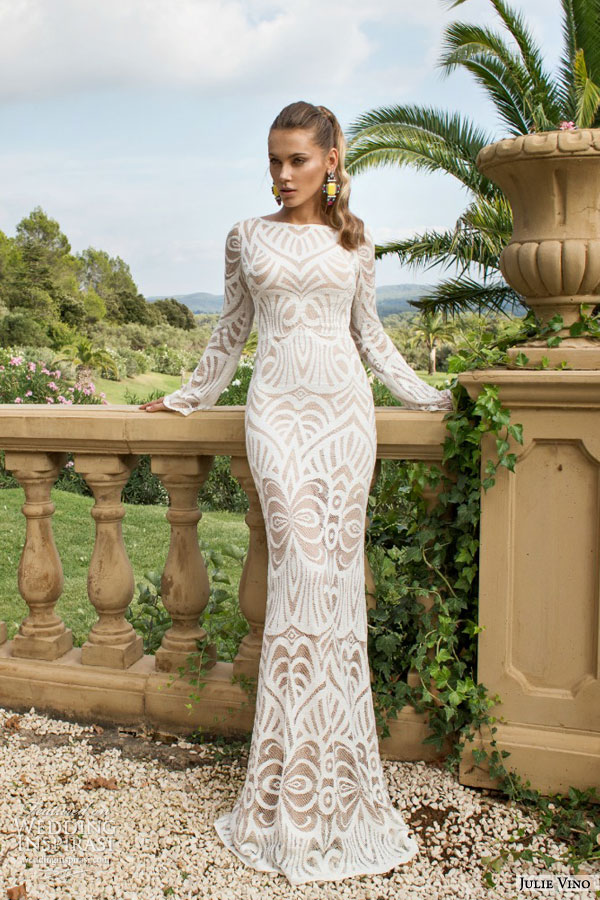 julie vino bridal fall 2015 provence didi long sleeve bateau neck patterned sheath wedding dress