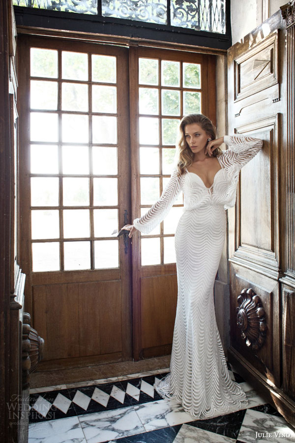 julie vino bridal fall 2015 provence jennifer sheath sexy wedding dress plunging neckline blouson overlay