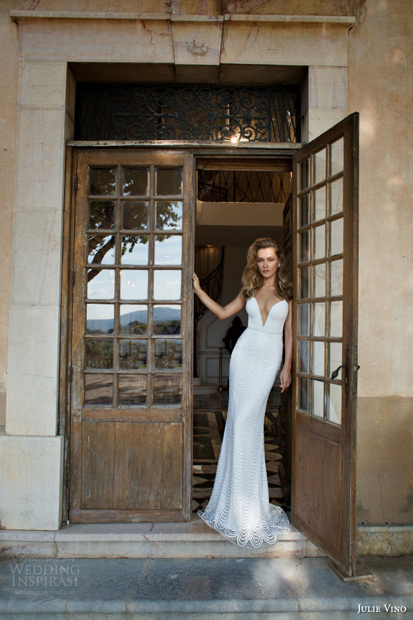 julie vino bridal fall 2015 provence jennifer sheath sexy wedding dress plunging neckline