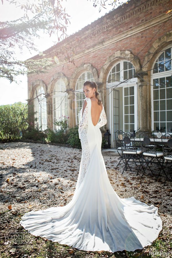 julie vino bridal fall 2015 provence marline illusion long sleeve sheath wedding dress deep v neckline scoop open back view train
