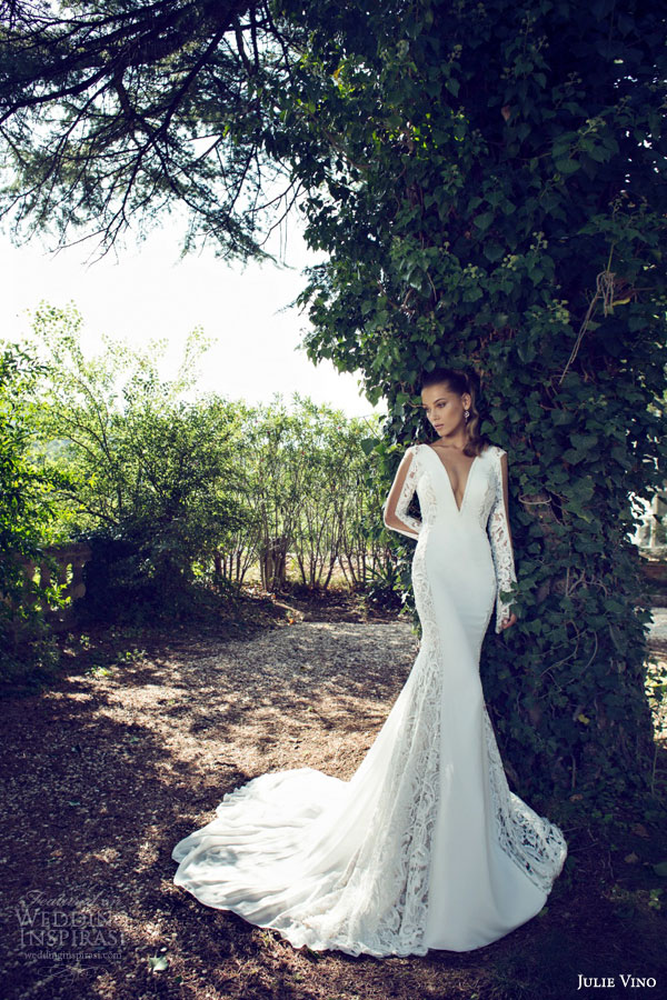 julie vino bridal fall 2015 provence marline illusion long sleeve sheath wedding dress deep v neckline