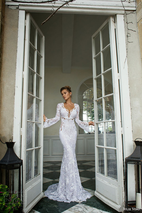 julie vino bridal fall winter 2015 provence alexis lace sheath wedding dress long bell sleeves scalloped v neckline