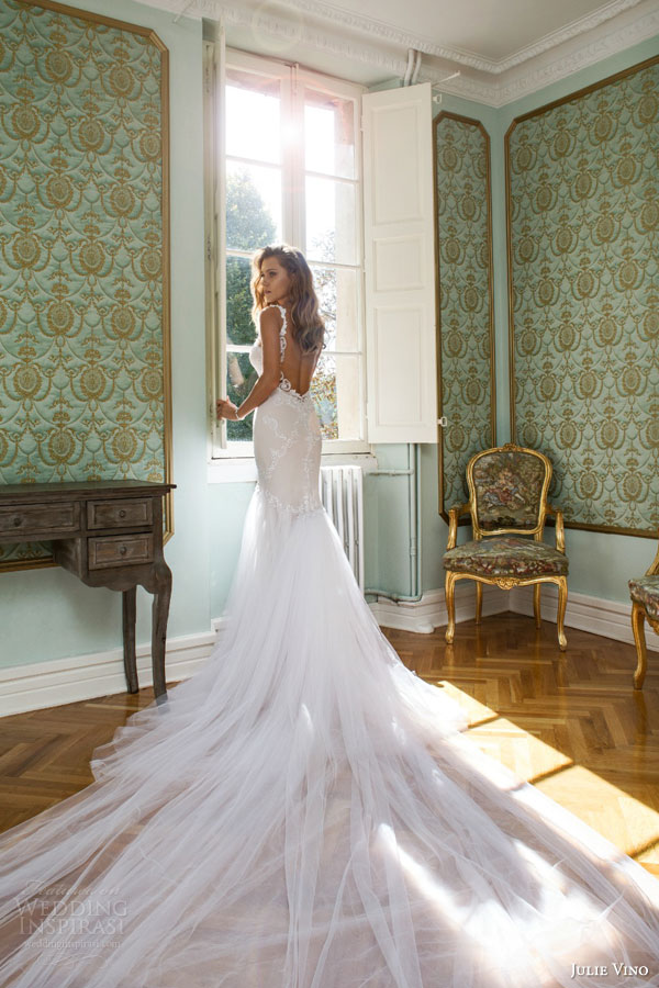 julie vino fall 2015 provence bridal collection lindsay sleeveless mermaid wedding dress back view train