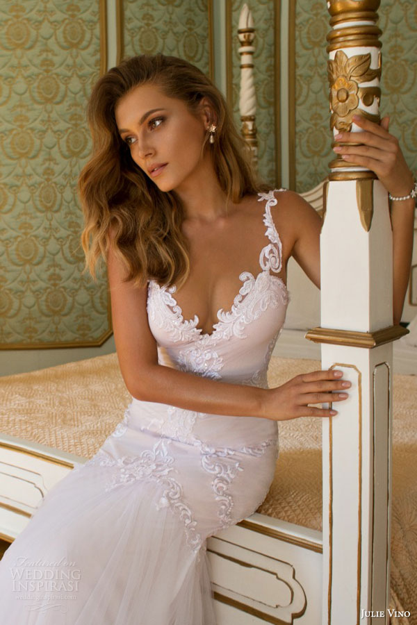 julie vino fall 2015 provence bridal collection lindsay sleeveless mermaid wedding dress close up bodice