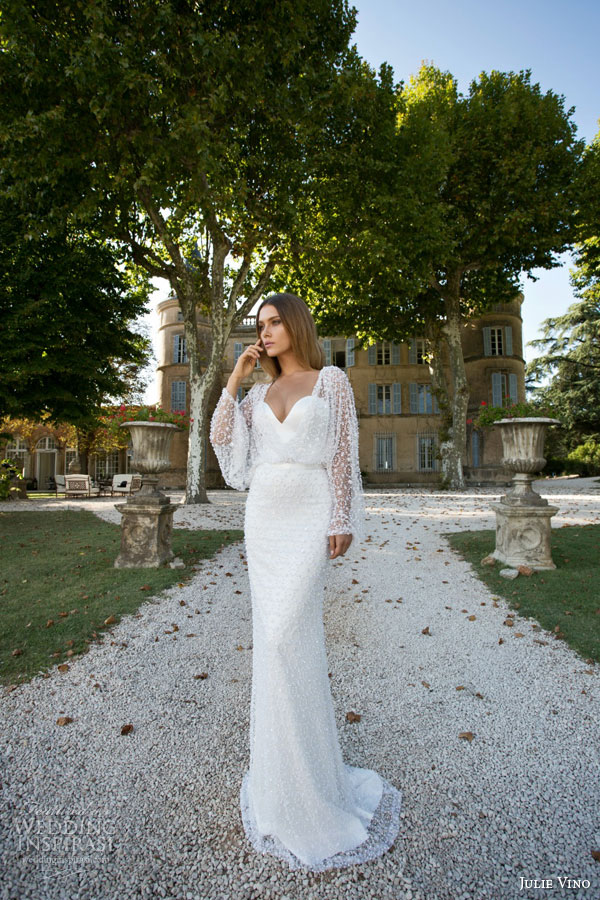 julie vino fall winter bridal 2015 provence pearlie sheath wedding dress sweetheart necklin pearl bead