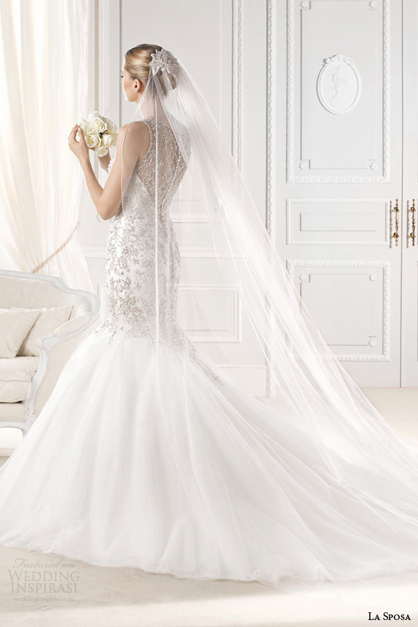 la sposa bridal 2015 erma sleeveless mermaid wedding dress crystal bead embellished bodice high jewel neckline back view