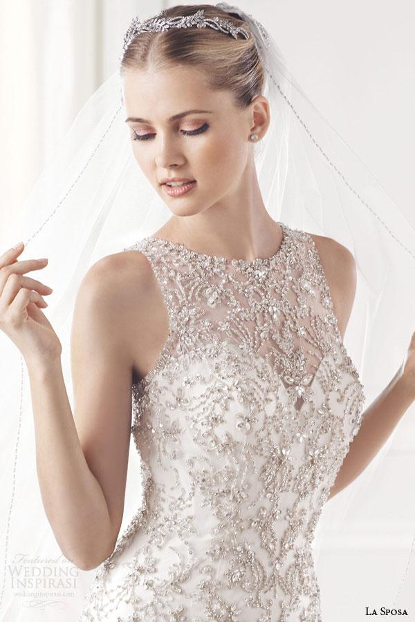 la sposa bridal 2015 erma sleeveless mermaid wedding dress crystal bead embellished bodice high jewel neckline close up
