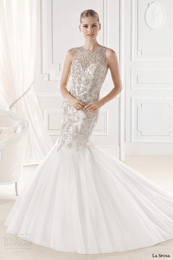 la sposa bridal 2015 erma sleeveless mermaid wedding dress crystal bead embellished bodice high jewel neckline front view