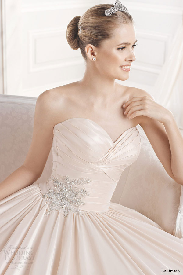 la sposa bridal 2015 eugenia strapless colored wedding dress full a line ball gown silhouette sweetheart neckline close up embellishment
