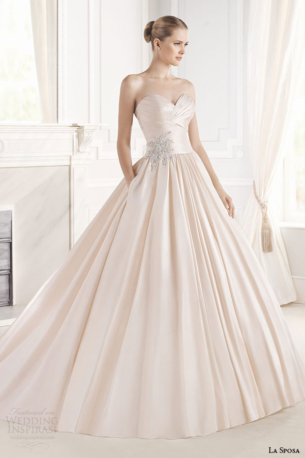 la sposa bridal 2015 eugenia strapless colored wedding dress full a line ball gown silhouette sweetheart neckline pocket full view