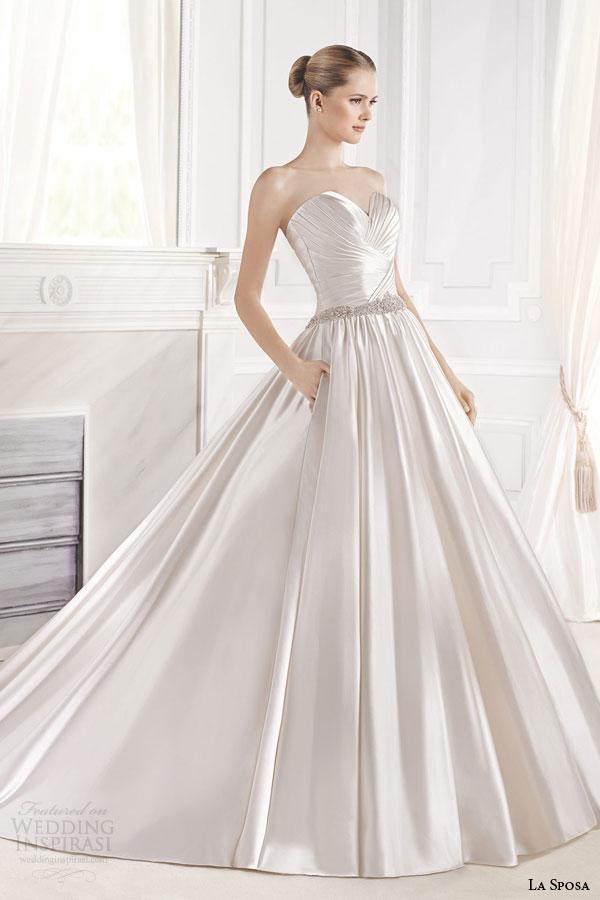 la sposa bridal 2015 eulalia strapless ball gown wedding dress sweetheart neckline cross over bodice