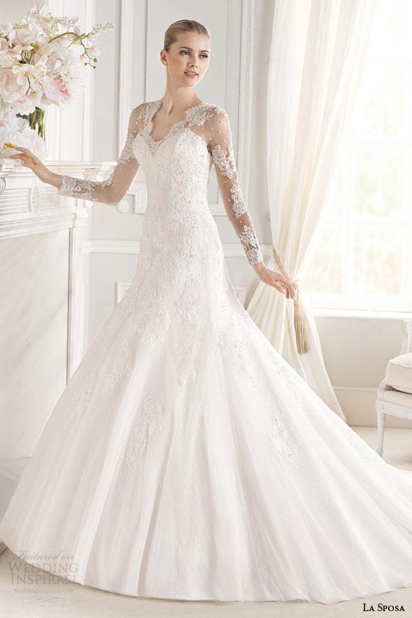 la sposa bridal 2015 evita illusion long sleeve wedding dress scalloped v neckline full view train