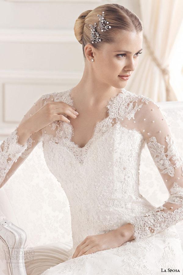 la sposa bridal 2015 evita illusion long sleeve wedding dress scalloped v neckline
